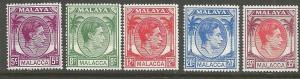 MALAYA  MALACCA, 22-26,  MNH, UPU