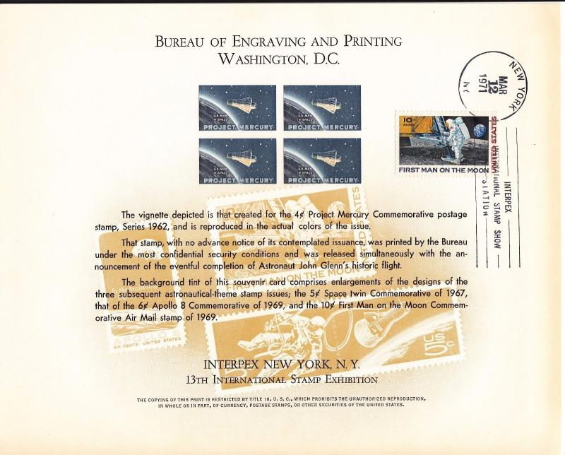 {BJ Stamps} BEP B 9 Souvenir Card, Interpex '71,4¢ Proj Mercury  used w/envelope