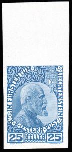 Liechtenstein 1912 25h DARK BLUE ON CHALKY PAPER IMPERFORATE MNH #3var. gorge...