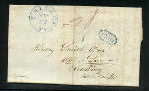 UNITED STATES 1837 BLUE PHILADELPHIA PA BOXED PAID  STAMPLESS  COVER