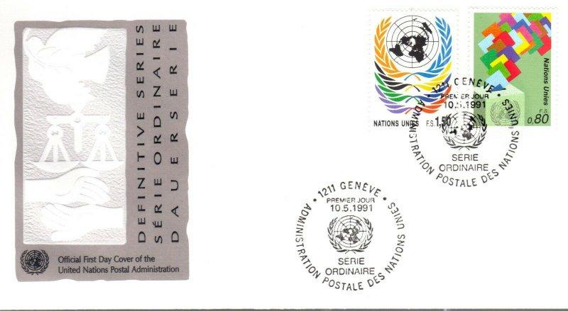 UN Geneva FDC #201-202 Definatives (15097)