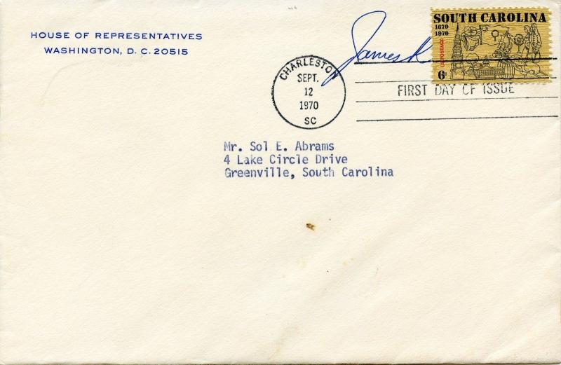 U.S. Scott 1407 South Carolina Issue FDC Sent by U.S. House Member w/Contents