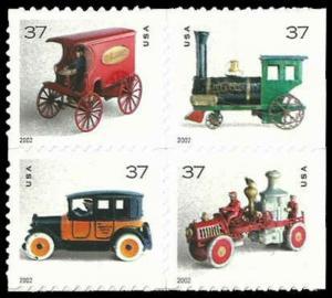 US #3642/3645a Block $1.48(4x37c)Toys, MNH, (PCB-6)