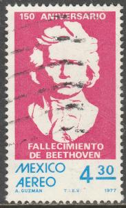 MEXICO C542, Sesquicentennial of death of Beethoven Used. F-VF.  (658)