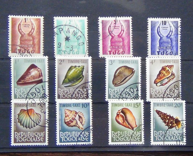 Togo 1959 Postage Dues values to 10F 1964-65 Shells Postage Dues set Complete U