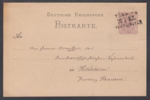 Germany Mi P10 used 1882 5pf Postal Card, 3-Line Railway Cancel, to Hildesheim