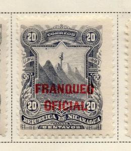 Nicaragua 1893 Early Issue Fine Mint Hinged 20c. Official Optd 323720