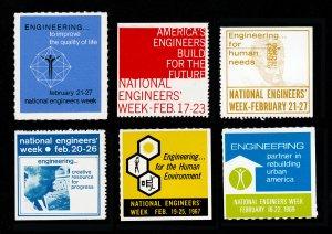 POSTER STAMPS NATIONAL ENGINEERS' WEEK 1959, 1963, 1965, 1966, 1967, & 1969