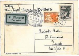 AIRMAIL - 1st FLIGHT Card - AUSTRIA:  Wien / Graz /  Zagreb / Belgrad - 1930