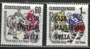 Czechoslovakia Scott 1845-46 MNH** Hockey opt set CV$16