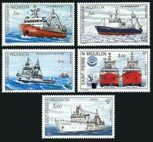 St Pierre & Miquelon 495-499, MNH. Ships, 1987-1991