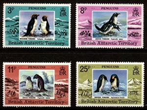 BRITISH ANTARCTIC TERRITORY Scott 72-75 PENGUINS Mint Never Hinged