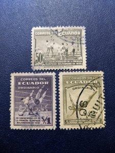 Ecuador 379-381 VF-XF, CV $2.65