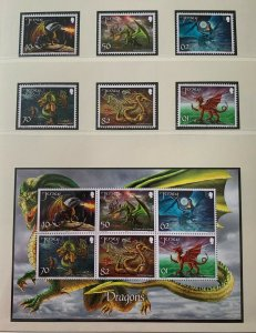 JE46) Jersey 2015 Year of the Dragon set of 6 & M/S MUH