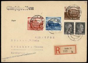 Germany 1942 Berlin Gruenberg 42pf Rate Registered Cover 63655