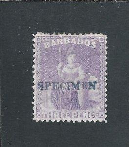 BARBADOS 1875-81 3d MAUVE-LILAC HANDSTAMPED SPECIMEN MM SG 75a CAT £150