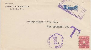 Honduras 10c Dionisio de Herrera Bisect 1924 Le Ceiba, Honduras C.A. to New O...