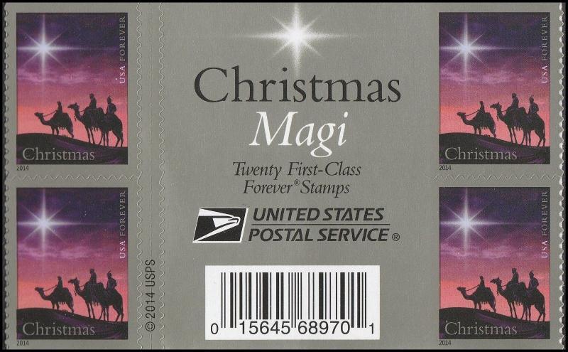 US 4945 Christmas Magi forever gutter label block MNH 2014