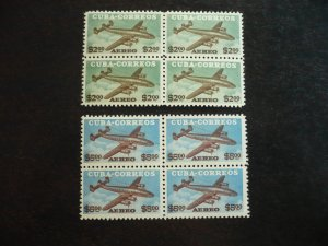 Stamps - Cuba - Scott#C77-C78 - Mint Hinged Set of 2 Air Mail Stamps in Blocks