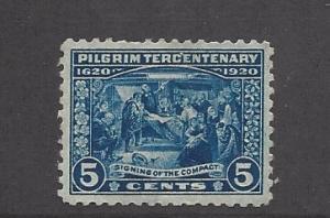 United States, 550, 5c Pilgrim Tercentenary Deep Blue Single F-VF, **HH** HB