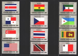 UN New York. 1981. 373-88 from the series. Country flags. MNH.