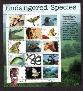 US 3105,  Pane of 15, VF, MNH, Endangered Species, CV $12.00 ..... 6784094