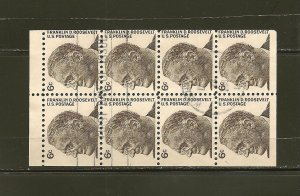 USA 1284B Roosevelt Complete Booklet Pane of 8 Used