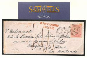 MS1502 1861 GB UNDERPAID LADIES Env *Worthing* Sussex 4d Cover Holland BEAUTIFUL