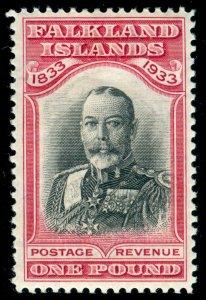 MOMEN: FALKLAND ISLANDS SG #138 1933 Centenary MINT OG H VF