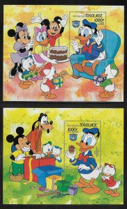 Togo 1239-1240 Disney 50th Donald Duck s.s. MNH c.v. $15.00