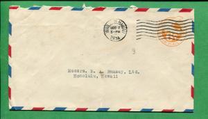 Hawaii Air Mail Cover 1934 Wailuku to Honolulu 6 Cent Postal Stationary S8454