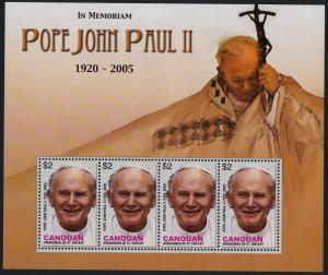 St Vincent Grenadines Canouan 15 sheet MNH Pope John Paul II