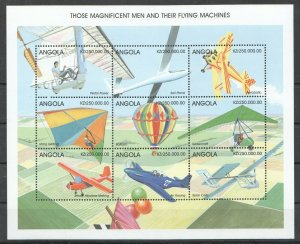 PK309 ANGOLA AVIATION MAGNIFICENT MEN & THEIR FLYING MACHINES 1KB MNH STAMPS