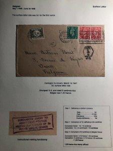 1947 Darlington England Postage Due Cover To Anvers Belgium