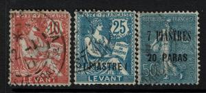 France Offices in Turkey 3 Used Stamps with Faults, see notes - Lot 061117