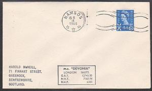 GB NORWAY 1966 MS DEVONIA  ship cover,  NANSOS cancel.......................1069