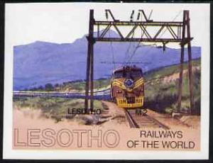 Lesotho 1984 Railways of the World 2m miniature sheet IMP...