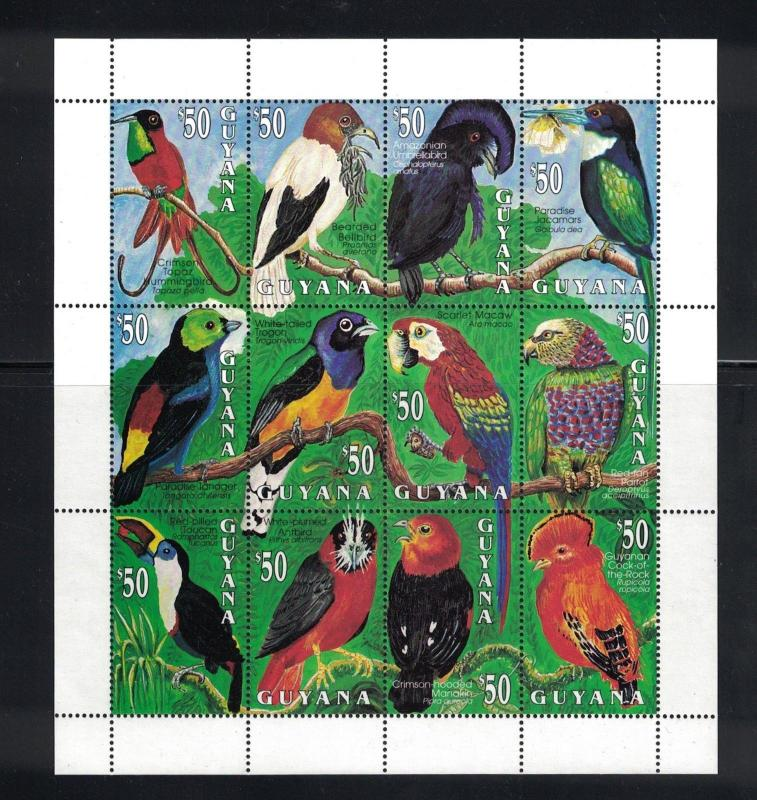 Guyana - Exotic Birds. Sheet Of 12. MNH OG.  #02 GUYsh12