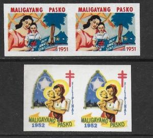 Philippines 1951-52 Xmas TB Seal Cinderella IMPERF Pairs F/VF-NH