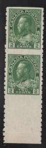 CANADA Scott 128 KGV 1922 MNH** Vertical coil pair imperf inbetween w selvage