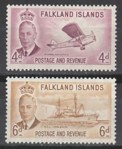 FALKLAND ISLANDS 1952 KGVI PICTORIAL 4D AND 6D