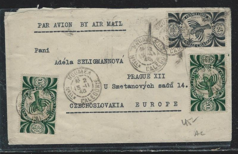 NEW CALEDONIA  (PP2709B) 1946 A/M TO CZECHOSLOVAKIA