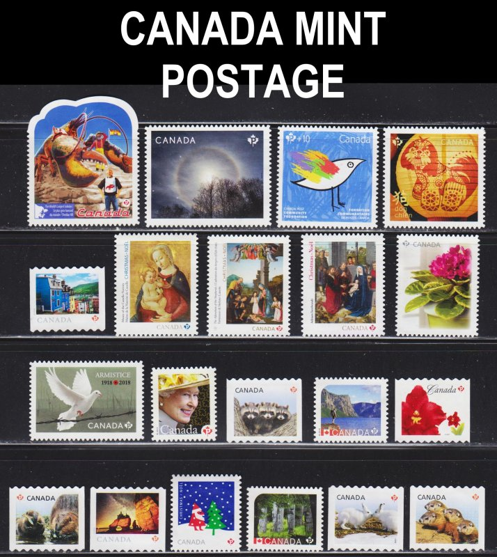 Canada 20 mint no gum postage stamps. Total face value $18,40 (,92 cents each).