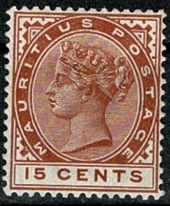 MAURITIUS QV 1883-94 15c CHESTNUT UNUSED (MH) SG107 Wmk.CROWN CA VGC
