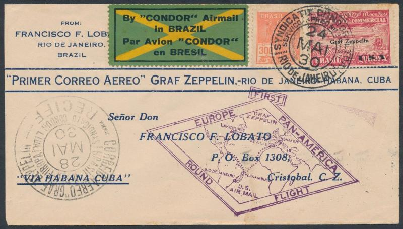 SI #59E BRAZIL DISPATCH 1ST EUROPE PAN-AM ROUND FLT COVER TO CRISTOBAL BR2373