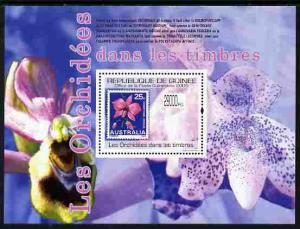 Guinea - Conakry 2009 Stamp on Stamp - Orchids perf m/she...