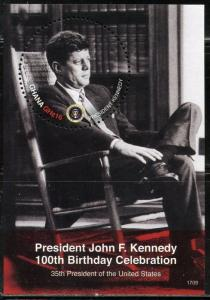 GHANA 2017  100th BIRTHDAY CELEBRATION JOHN F. KENNEDY SOUVENIR  SHEET MINT NH