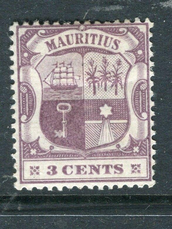 MAURITIUS; 1900 early Crown CA issue Mint hinged 3c. value