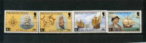 TRISTAN DA CUNHA 1992 SHIPS/DISCOVERY OF AMERICA/COLUMBUS SET OF 4 STAMPS MNH