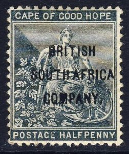 RHODESIA 1896 ½d.Grey-Black COGH Optd BRITISH SOUTH AFRICA COMPANY SG 58 MINT
